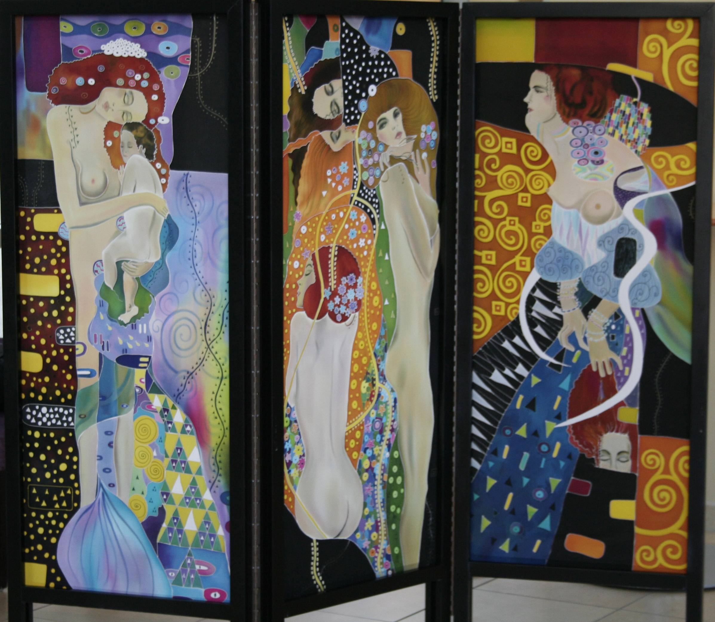 Three Panels Screen, Homage to Klimt