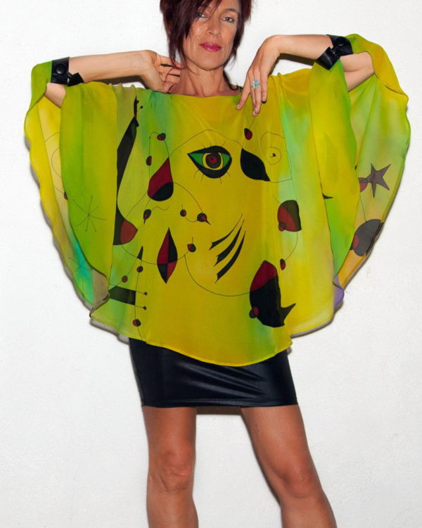 Lime miro poncho with Leather cuffs