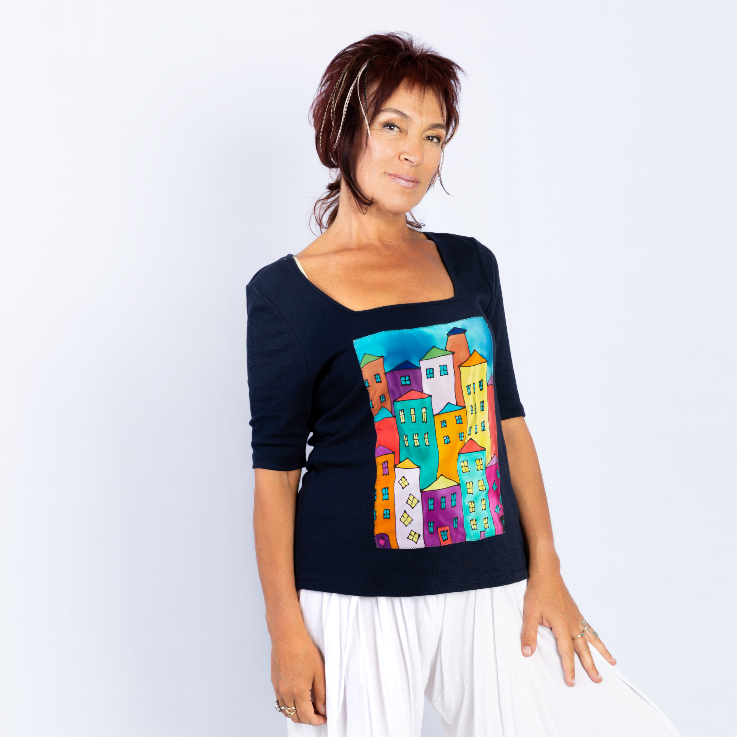 T-shirt with hand pained panel, Houses