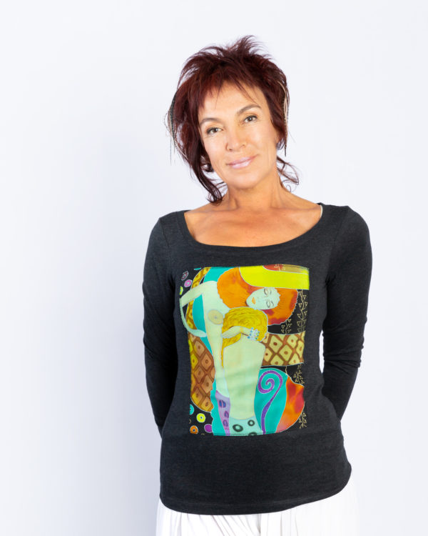 T-shirt with hand painted panel, Klimt, Water Serpents