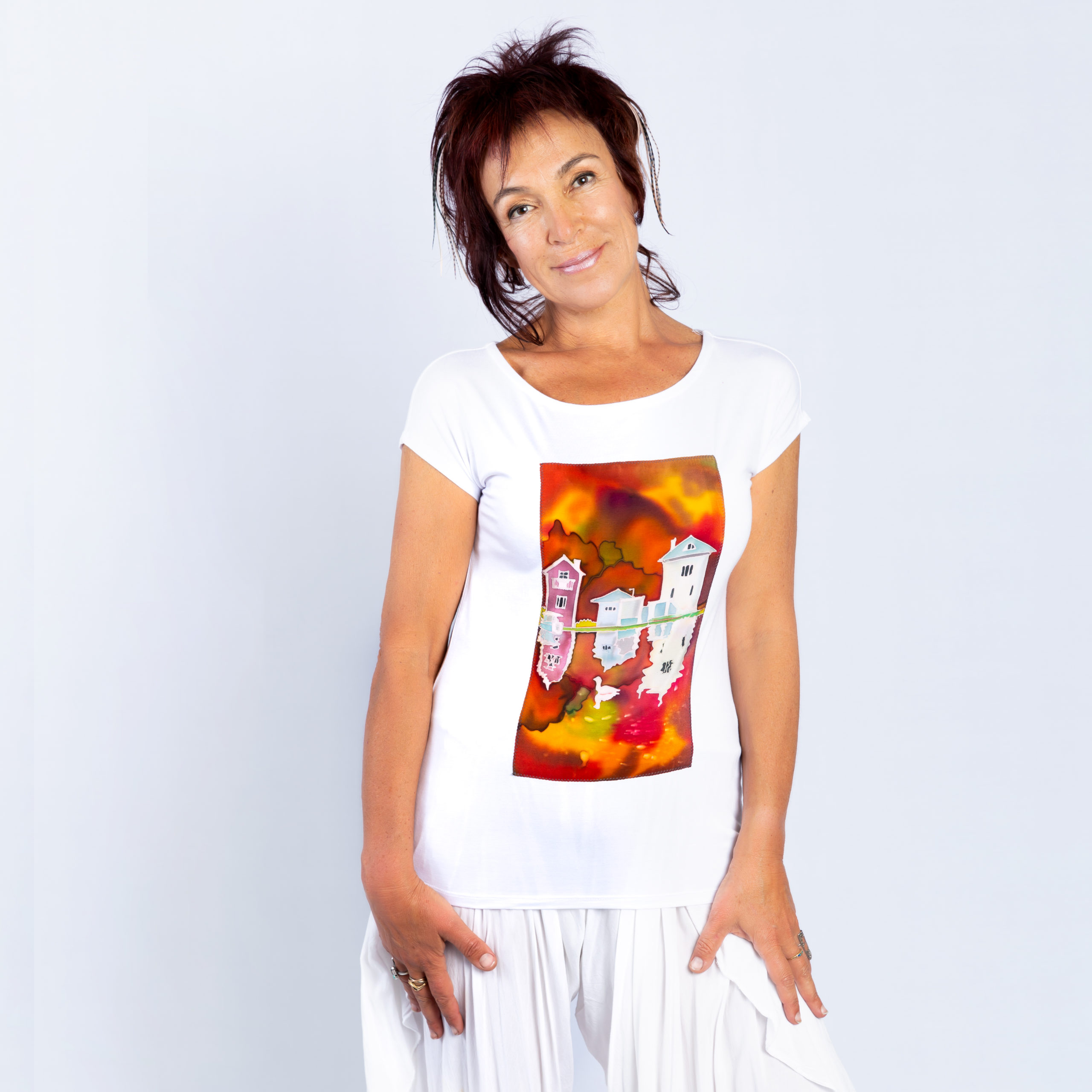 T-shirt with hand painted panel, Fall reflections