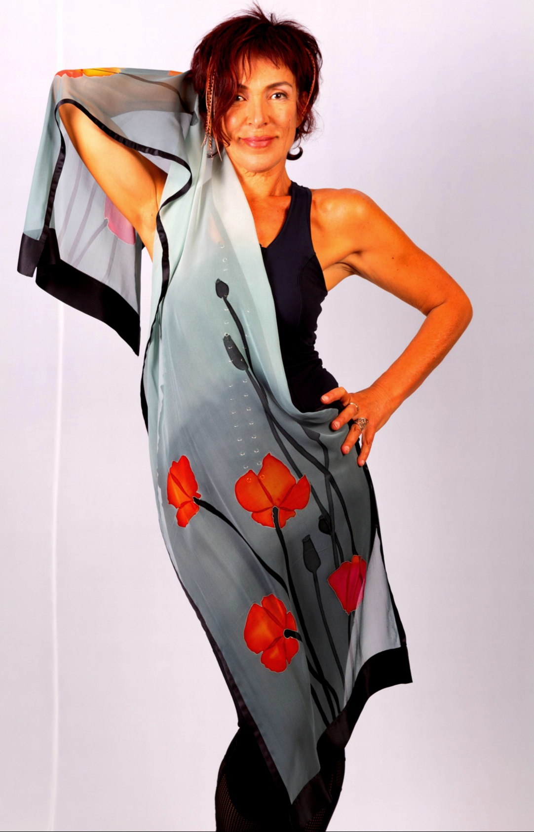 Hand painted silk chiffon scarf with puppies