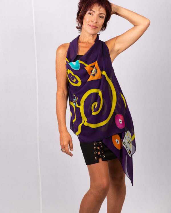 Mini vest purple and yellow homage to Klimt