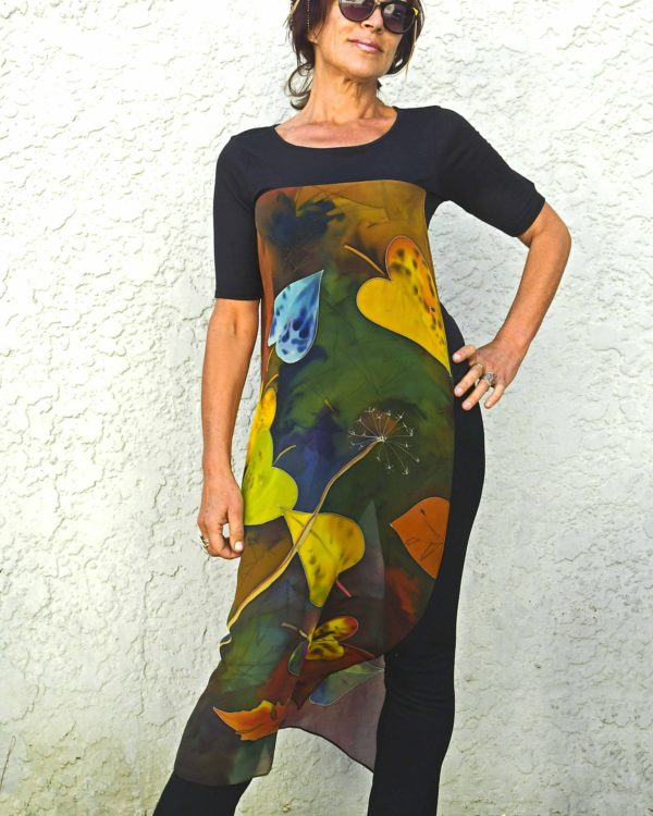 T-shirt with long silk chiffon handpainted panels autumn