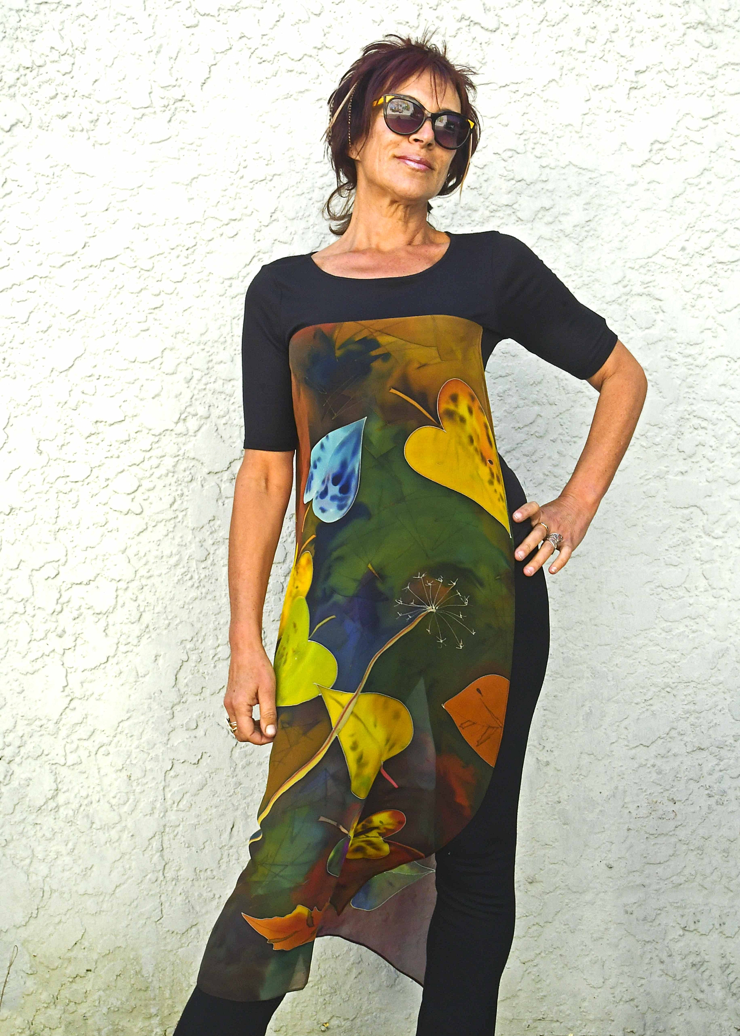 T-shirt with long silk chiffon handpainted panels autumn
