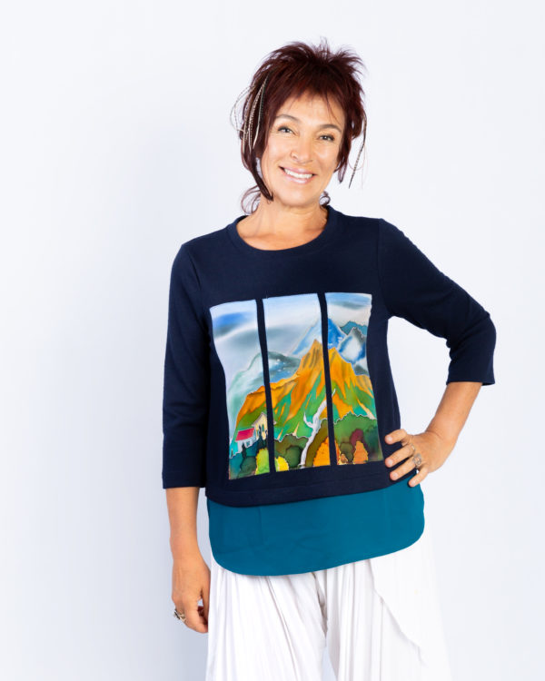 T-shirt with 3 hand painted panels, Sedona