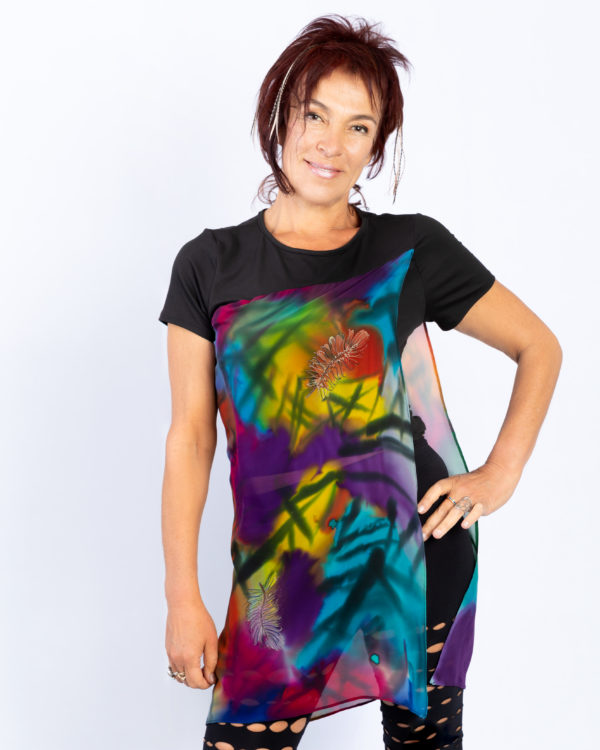 T-shirt with hand painted panel, Feathers