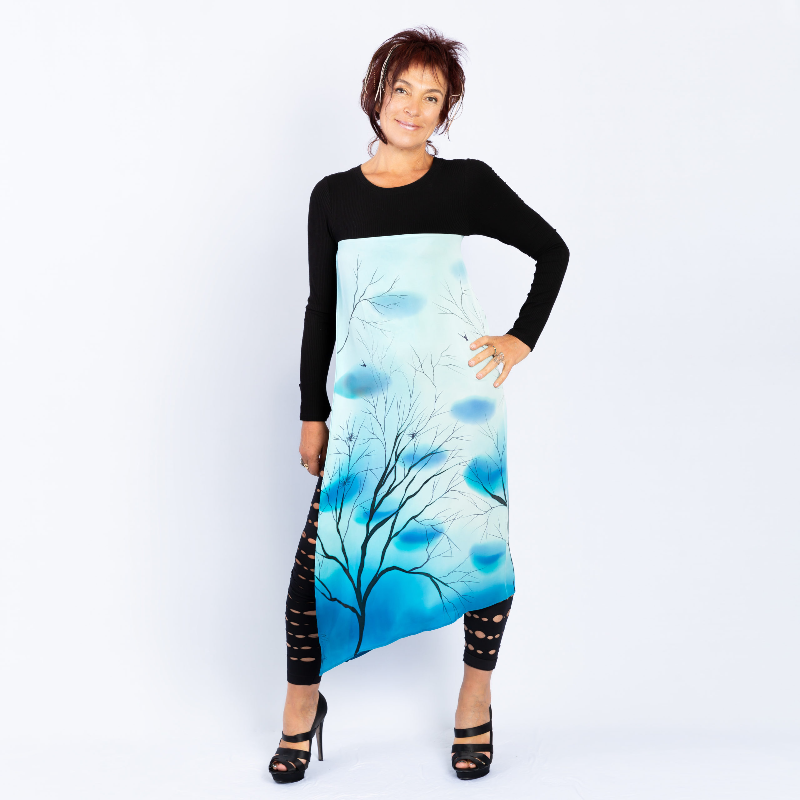 T-shirt with hand painted panel, Trees