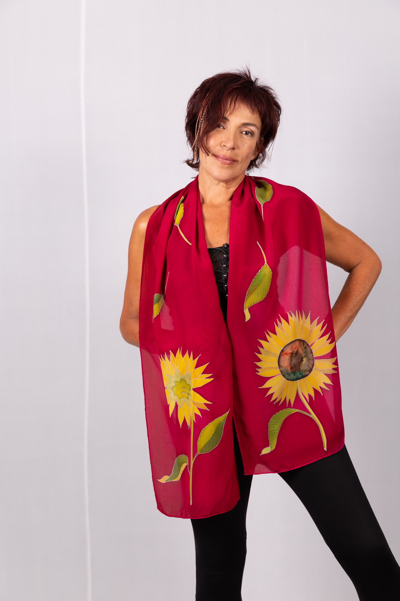 Silk crepe de chinescarf with sunflowers