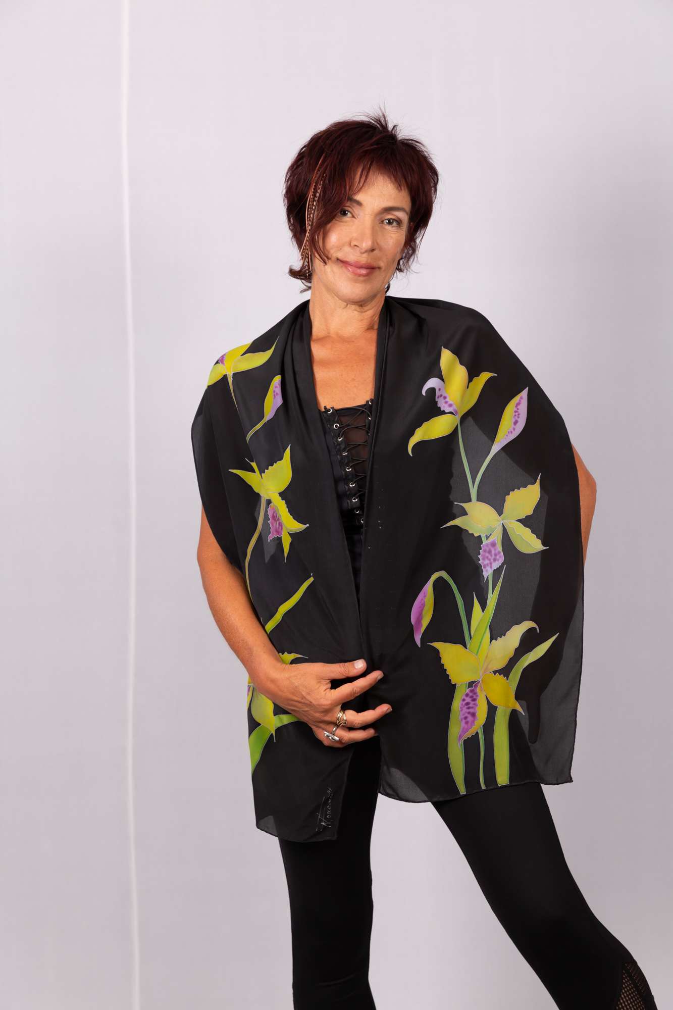 Silk crepe de chine scarf with yellow orchids